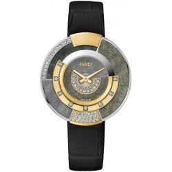 F511031511H2 Fendi Policromia Diamond Watch Gold Obsidian 38mm