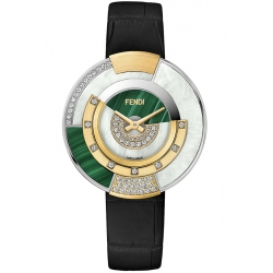 F511038511H2 Fendi Policromia Diamond Watch Gold Malachite 38mm