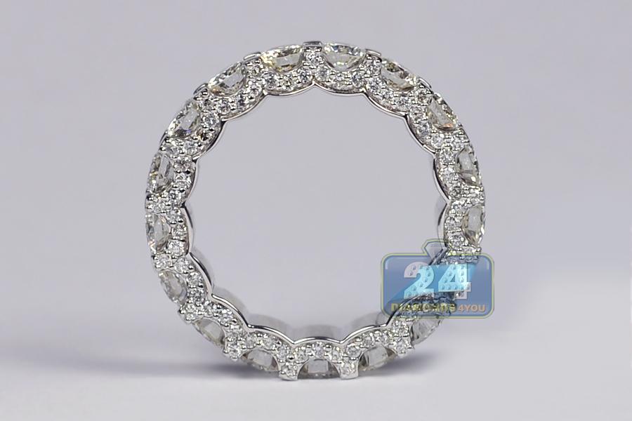 womens all diamond wedding eternity ring 18k white gold. Black Bedroom Furniture Sets. Home Design Ideas