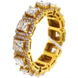 18K Yellow Gold 3.43 ct Princess Diamond Womens Eternity Ring