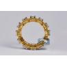 Womens Princess Diamond Halo Eternity Ring 18K Yellow Gold 3.43 ct