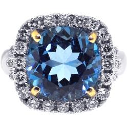 18K Two Tone Gold 6.10 ct Blue Topaz Diamond Womens Ring