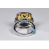 18K Two Tone Gold 6.10 ct Blue Topaz Diamond Womens Ring