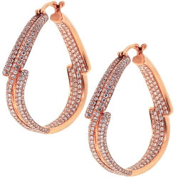 Womens Diamond Round Hoop Earrings 18K Rose Gold 3.94 Carat