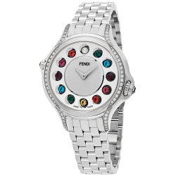 Fendi Crazy Carats Diamond Silver Dial 33 mm Watch F107024000C0T05