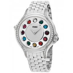 F107034000C0T05 Fendi Crazy Carats Diamond Silver Dial Watch 38mm