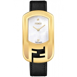 F303434511D1 Fendi Chameleon Yellow Gold Black Strap Watch 29mm