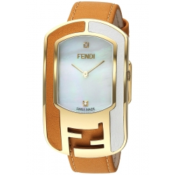 F334434551D1 Fendi Chameleon Two Tone Tan Womens Watch 29mm