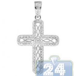 Womens Diamond Filigree Cross Pendant 14K White Gold 0.25ct
