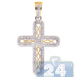 14K Yellow Gold 0.26 ct Diamond Filigree Cross Womens Pendant