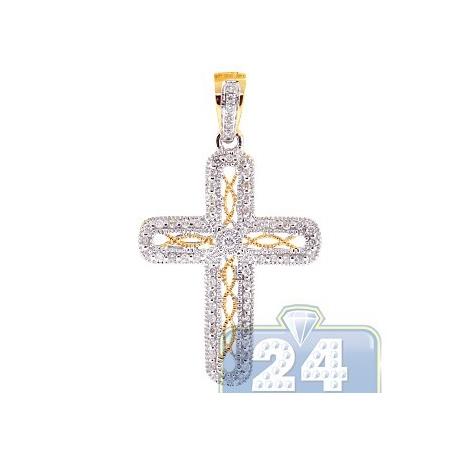 Womens diamond filigree cross pendant 14k yellow gold 026 ct aloadofball Image collections