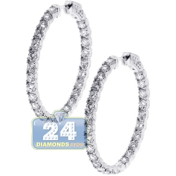 Womens Inside Out Diamond Hoop Earrings 18K White Gold 4.81 ct