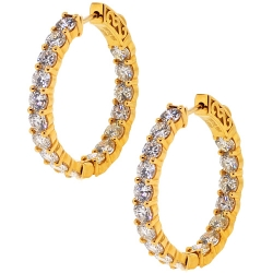 18K Yellow Gold 5.22 ct Inside Out Diamond Womens Hoop Earrings