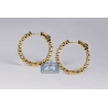 Womens Inside Out Diamond Hoop Earrings 18K Yellow Gold 5.22 ct