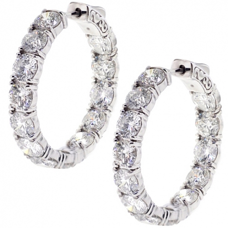 Womens Inside Out Diamond Round Hoop Earrings 18K Gold 12.65 ct
