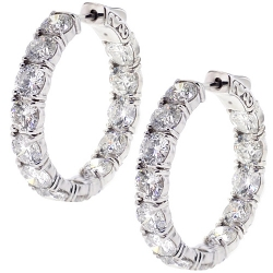 18K White Gold 12.65 ct Inside Out Diamond Round Hoop Earrings