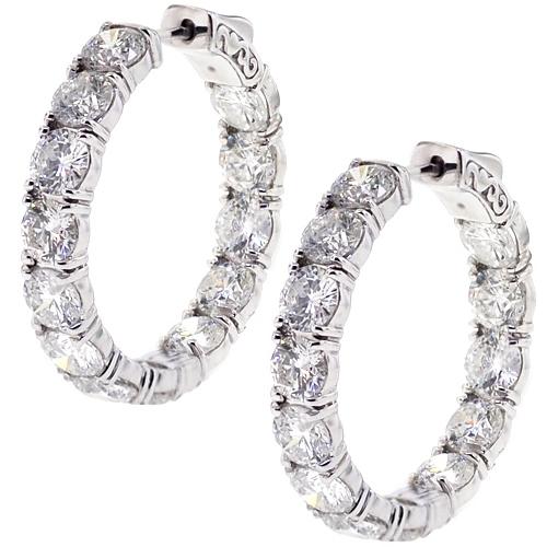 18k White Gold 12 65 Ct Inside Out Diamond Round Hoop Earrings