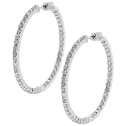 18K White Gold 5.75 ct Diamond Womens Round Hoop Earrings