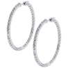 Womens Diamond Round Hoop Earrings 18K White Gold 5.75 ct 1.75""