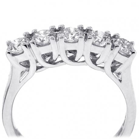 18K White Gold 1.08 ct Diamond Womens 5-Stone Wedding Ring