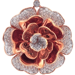 Womens Diamond Pave Flower Pendant 18K Rose Gold 3.72 ct 1.75""