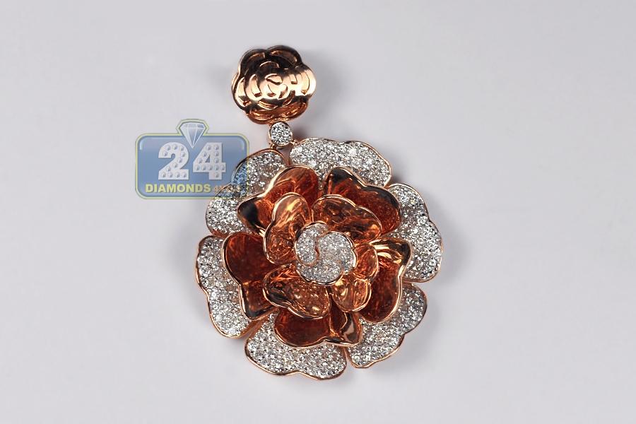 Womens Diamond Pave Flower Pendant 18k Rose Gold 3 72 Ct 1 75 Quot