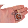 "Womens Diamond Pave Flower Pendant 18K Rose Gold 3.72 ct 1.75"""