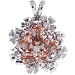 18K Two Tone Gold 1.70 ct Diamond Flower Butterfly Pendant