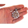 Womens Diamond Flower Butterfly Pendant 18K Two Tome Gold 1.7 Ct