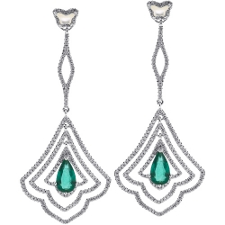 18K White Gold 5.27 ct Emerald Diamond Dangle Earrings