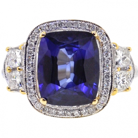 18K Yellow Gold 6.03 ct Blue Sapphire Diamond Womens Ring