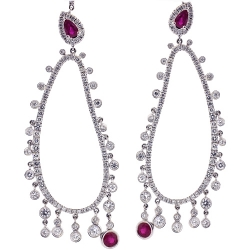 18K White Gold 6.21 ct Diamond Ruby Womens Dangle Earrings