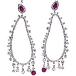 18K White Gold 6.21 ct Diamond Ruby Womens Dangle Earrings