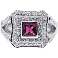 18K White Gold 1.61 ct Diamond Pink Tourmaline Womens Ring