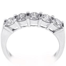 Womens Diamond 5-Stone Ring 18K White Gold 1.10 ct