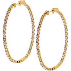 14K Yellow Gold 4.04 ct Inside Out Diamond Round Hoop Earrings