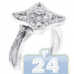 14K White Gold 0.94 ct Diamond Multi Shaped Engagement Ring
