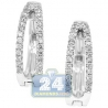 Womens Diamond Double Round Hoop Earrings 14K White Gold 0.44 ct