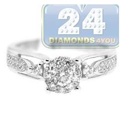 14K White Gold 0.63 ct Diamond Womens Illusion Engagement Ring