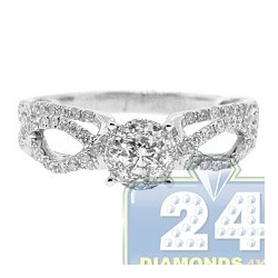 14K White Gold 0.85 ct Diamond Illusion Openwork Engagement Ring