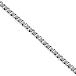 14K White Gold Square Box Link Kids Chain 0.5 mm