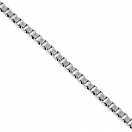 14K White Gold Square Box Link Womens Chain 0.5 mm