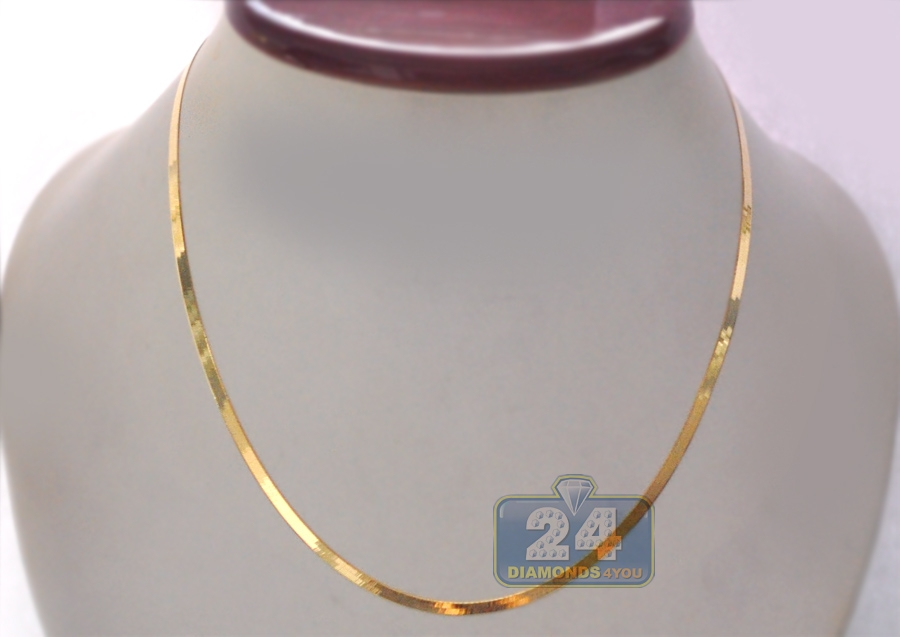 10K Yellow Gold Herringbone Womens Chain 2.8 mm 18 20 22 24 Inch