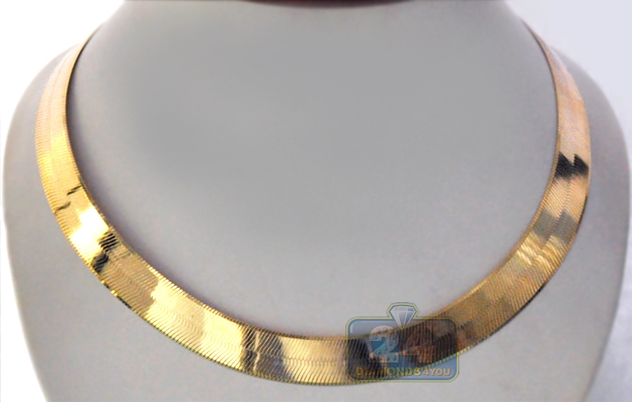 solid 10k yellow gold herringbone mens womens neckalce 15 mm