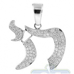 14K White Gold 0.50 ct Diamond Chai Jewish Pendant