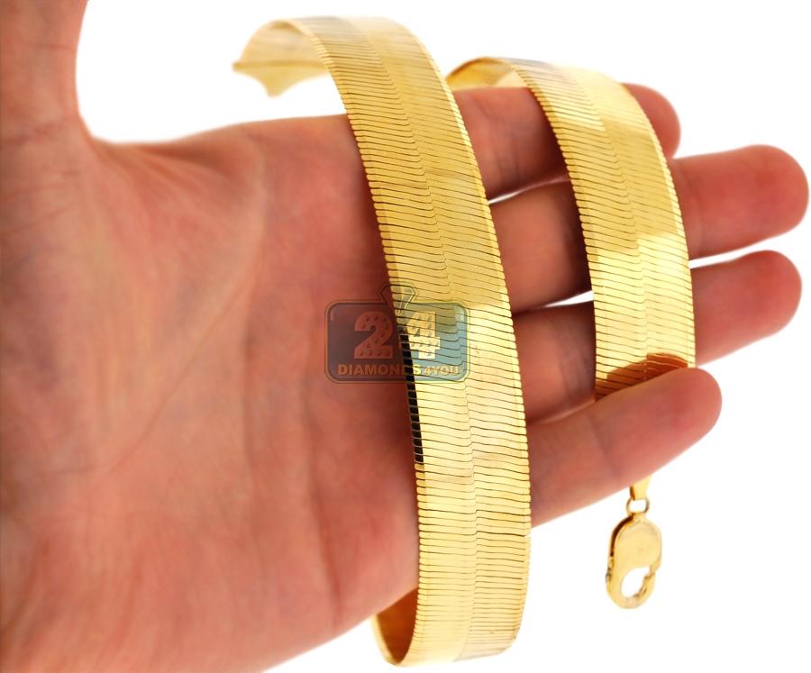 solid 10k yellow gold herringbone mens womens chain 20 mm