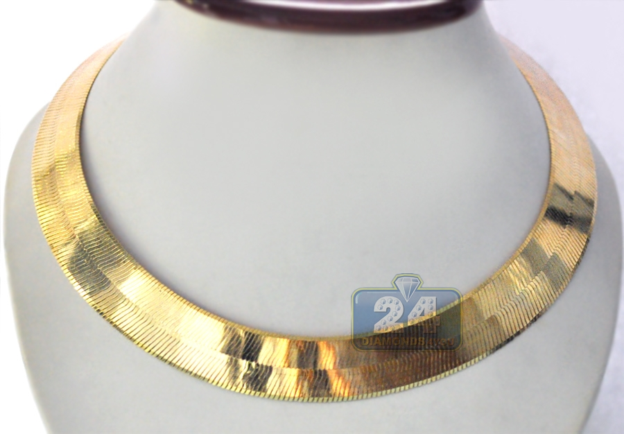 Solid 10K Yellow Gold Herringbone Mens Womens Chain 20 mm a6f6e92ea