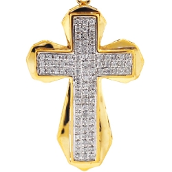 Mens Diamond Puff Cross Pendant 10K Yellow Gold 0.39 Carat
