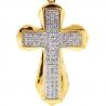 Mens Diamond Puff Cross Pendant 10K Yellow Gold 0.39 Carat