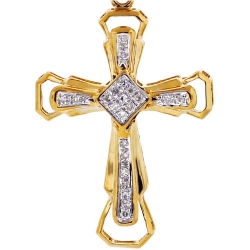 Mens Diamond Framed Cross Pendant 10K Yellow Gold .19ct 1.75""